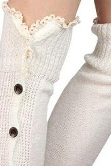 Ivory Button Down Leg Warmers, Boot Toppers, Boot Cuffs