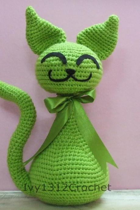 "Greenie Cat 10.62"" - Finished Handmade Amigurumi Crochet Doll Home Decor Birthday Gift Baby Shower Toy"