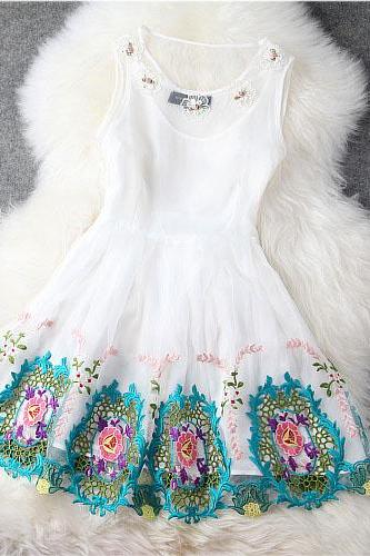 Designer Flower Gorgeous Embroidered Lace Dress - White