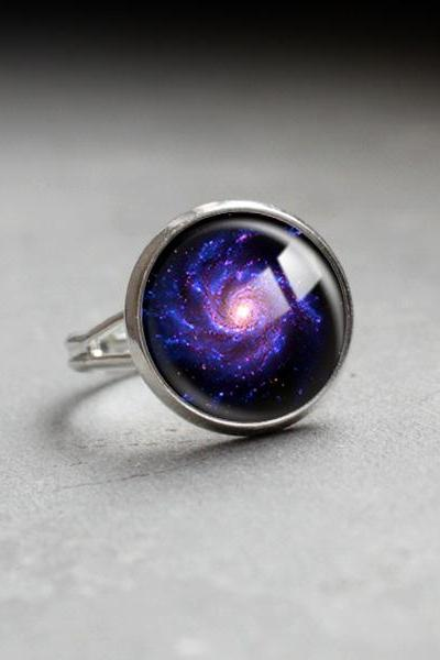 Galaxy Ring.Glass Ring.Galaxy Space Jewelry.adjustable ring.glass jewelry,space style.universe jewelry.Photo Ring.purple Galaxy handmade (RR14)