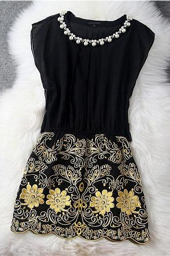 Designer Gorgeous Embroidered Lace Dress - Black