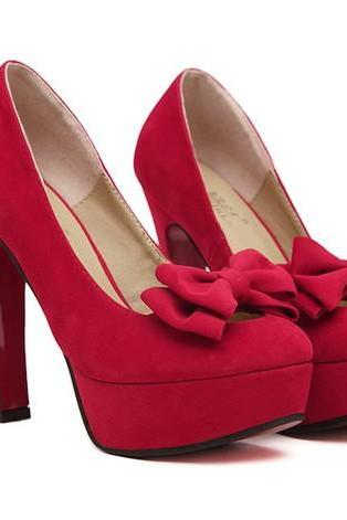 Cute Red Bow knot Design High Heel Fashion Shoes