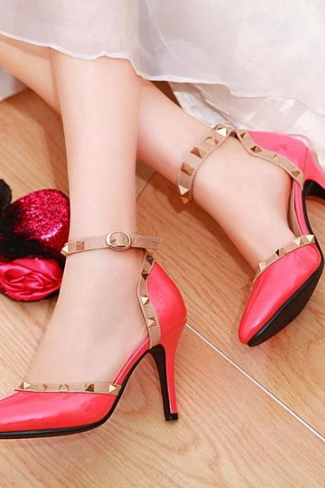 Sexy Pink Rivets Pointed Toe High Heels Fashion Shoes