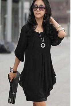 Summer Fashion Black Chiffon Dress