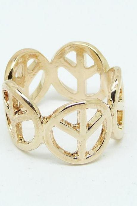 * Free Shipping* Peace Sign Metal Ring