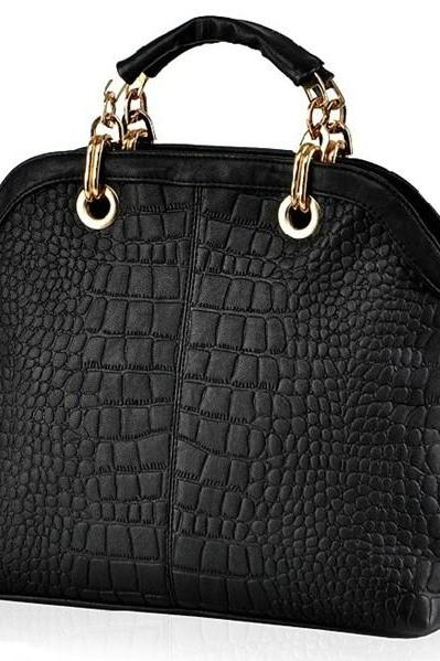 Black and White Crocodile Pattern Fashion Bag