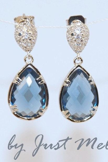 Sapphire Blue Teardrop Fancy Glass Earrings - Wedding Earrings, Bridesmaid Earrings, Bridal Jewelry (E103)