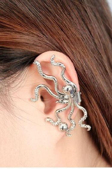 Rhinestone Inlaid Octopus Shape Ear Stud/Earring