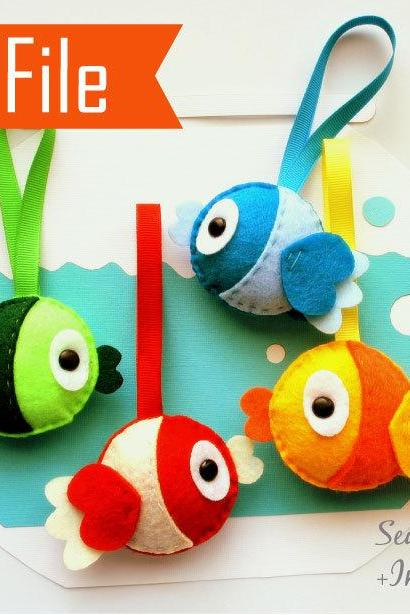 DIY Plush Felt Fish Sewing Pattern, PDF Felt Fish Plush Kids craft Project Instant Download A873