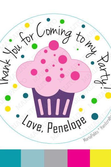 Sweet Cupcake Stickers, PRINTED round Stickers, tags, Labels or Envelope Seals MariaPalito A810