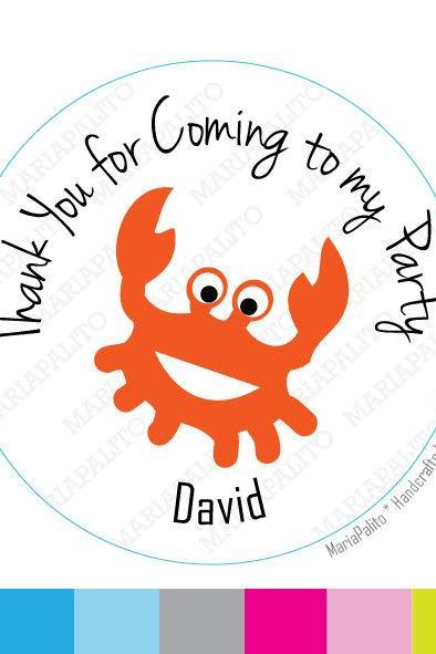 Crab Thank you for coming to my party . Personalized Sticker Label, Sticker, Round Stickers, tags, Labels or Envelope Seals MariaPalito A770