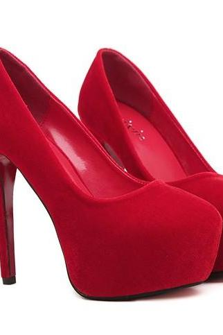 Red Suede High Heels Fashion Shoes