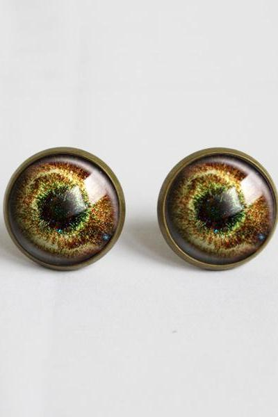 Vintage Yellow Galaxy Glass Earrings,Gunmetal Earrings.14mm Round.Galaxy.Unique Cosmic Nebula Glass Vintage Eardrop.Stud Earrings(ER15)