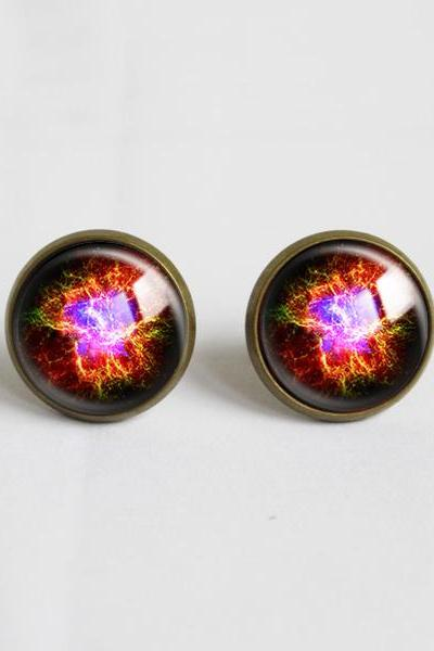 Galaxy universe Stud Earrings.with glass dome.Cosmic Nebula Glass Earrings.14mm Round,Glass Jewelry.Colorful Earrings gift for her (ER19)