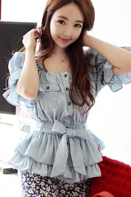Fashion Bateau Neck Short Sleeve Solid Polyester Blouse