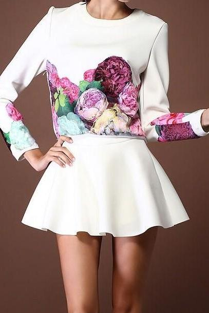 Flowers long sleeved Clothes + skirt ADBDCB
