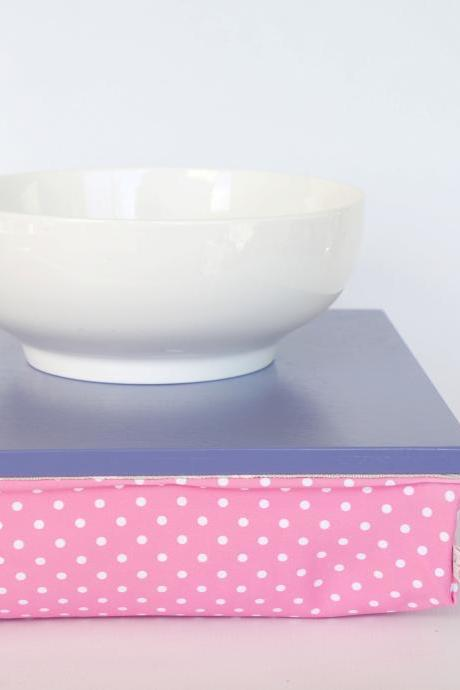 Pillow tray, Stable table, iPad stand or wooden Breakfast in Bed serving Tray - Light Slate Blue with pink polka dot Pillow