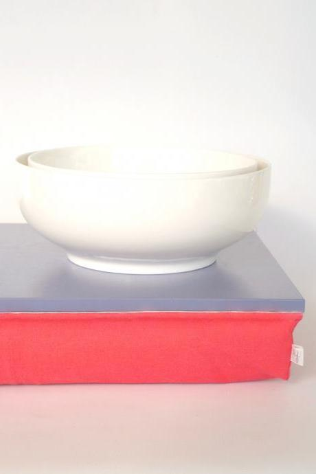 Breakfast in bed Tray, Laptop Lap Desk without edges - Light slate blue with Watermelon red cushion