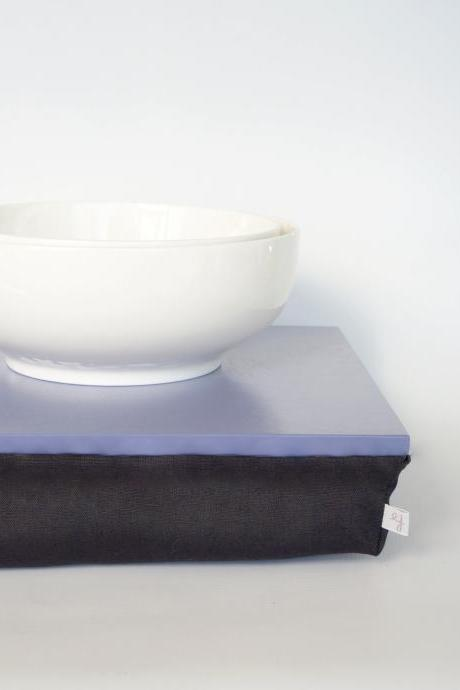 Breakfast in bed Tray, Laptop Lap Desk without edges - Light slate blue with black cushion