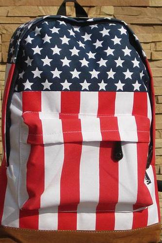 Fashion Girl Boy Retro USA Flag Backpack Shoulders Bag Schoolbag