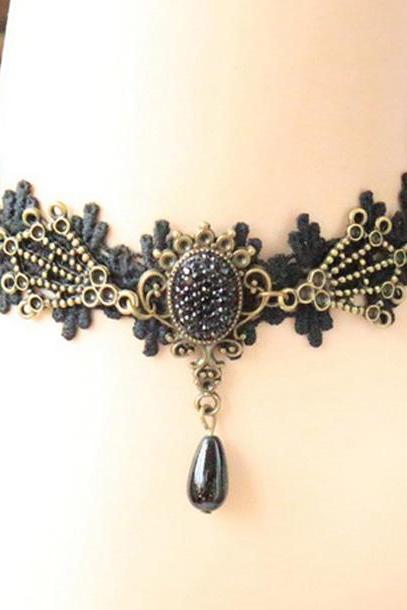 Free Shipping Noble Metal Embellished Jacquard Lace Anklets Navy