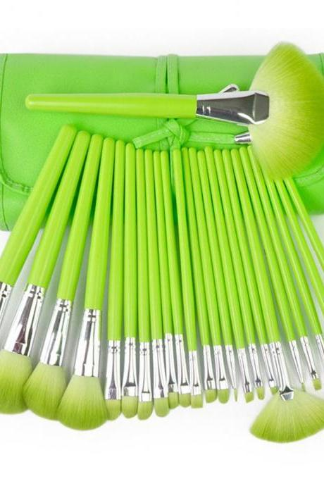 High Quality 24 Pcs/Set Makeup Brushes Cosmetic Set Kit Packed In Leather Case - Green