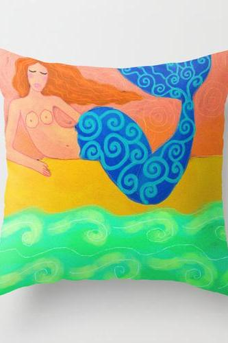 Mermaid Pillow Cover Case My Colorful Abstract Digital Painting of a Mermaid on the Beach