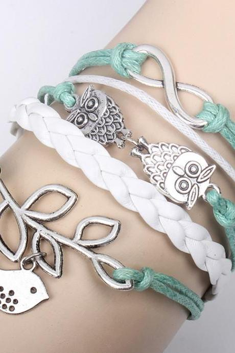Retro Owl 8-Word Leaves Multi-Layer Leather Rope Braiding Bracelet