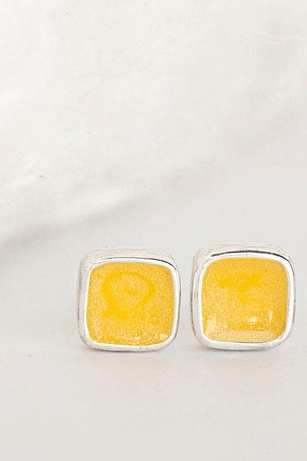 Mini Yolk Yellow Square Stud Earrings, Minimalist