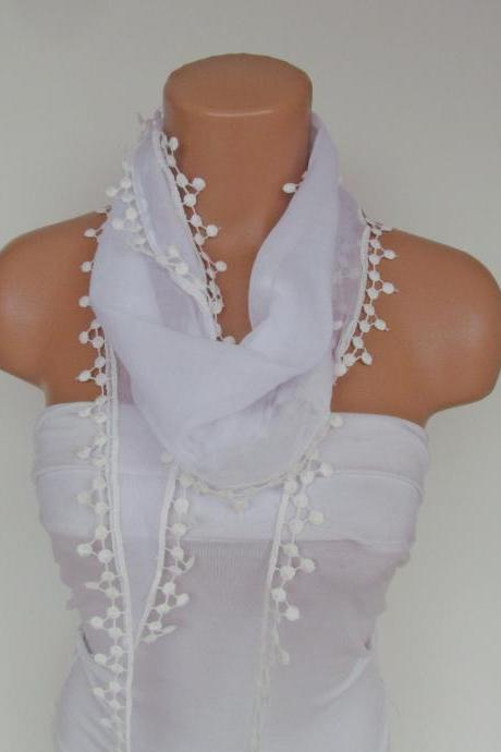 Long Scarf With Fringe-New Season Scarf-Headband-Necklace- Infinity Scarf- Spring Accessory-White Scarf-New Season-Gift