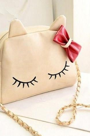 Cute White Bow knot Design Kitty Hand Bag