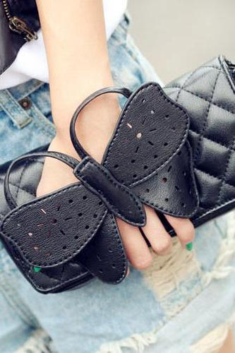 Butterfly Embellished Black Fashion Bag