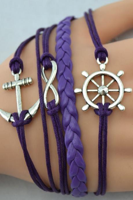 Lureme Infinate Anchor Braided Fashion Bracelet (7 colors for choose)