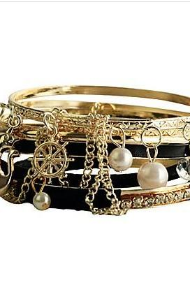 (7 Pcs)Black Leather Alloy Pearl Bracelet