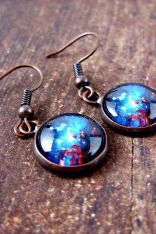 Space Sparkle Earrings: Dangle Style. Handmade Jewelry