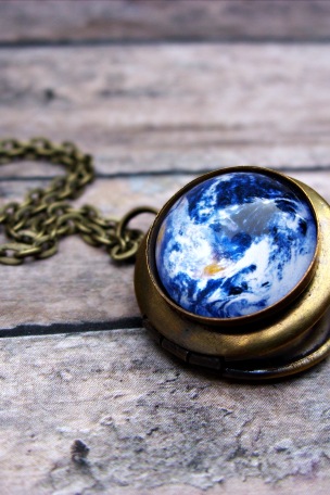 Earth Locket Necklace: Picture Pendant. Art Pendant. Handmade by Lizabettas