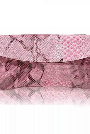 Pink Snake Pattern Clutch Bag