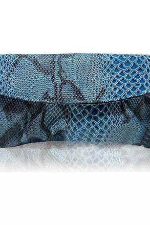 Blue Snake Pattern Clutch Bag