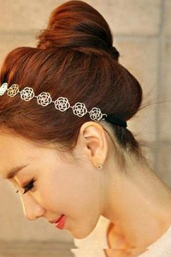 Beautiful Vintage Metallic Gold Design Rose Head Band