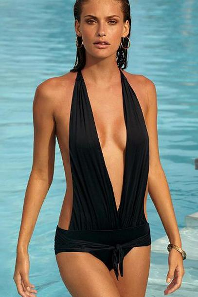 Sexy Gothic Backless Black Spandex Monokini