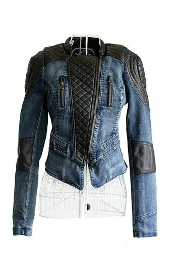 Women Slim Fit Denim Splice Leather Short Jacket Stand Collar Pad Shoulder Coat
