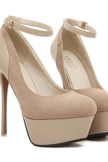 Glamorous Apricot Colored Platform Fashion Pumps