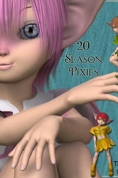 Season Pixies Digital Clipart - Spring, Summer, Autumn / Fall & Winter - 20 Clip Art Images for Scrapbooking, Card Making and More