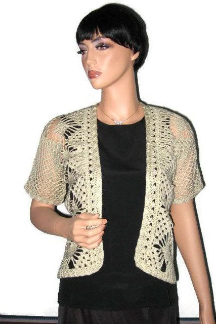 Khaki Hand Crocheted Open Front Lace Jacket