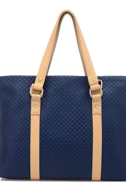Blue Leather Fashion Handbag