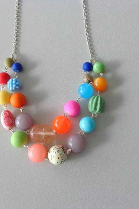 Candy necklace, chunky colorful jewelry