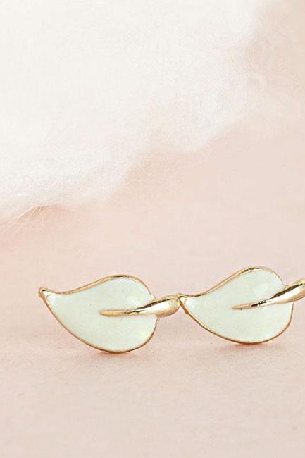 Mini Mint Leaf Stud Earrings, Seafoam Green Posts, Minimalist