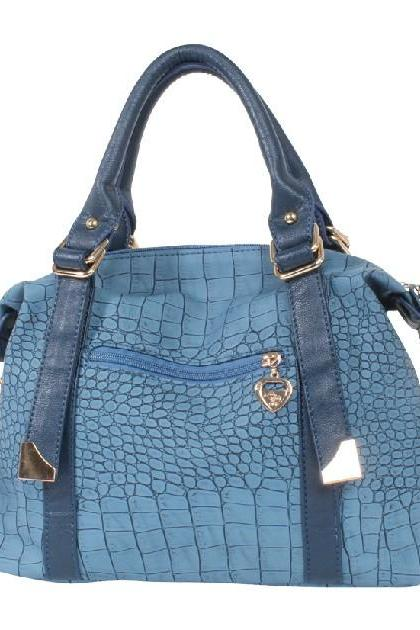 Blue Crocodile Pattern Hand Bag