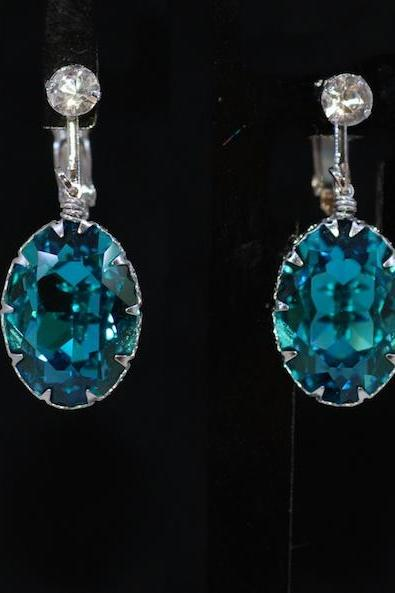 Wedding Jewelry, Bridesmaid Earrings - Crystal Screw Back Clip On Earring with Swarovski Indicolite Oval Crystal (E662)