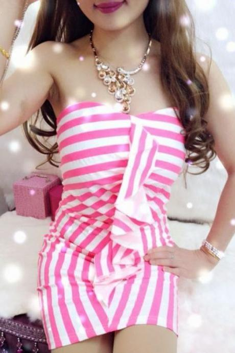 Cute Pink Striped Fitted Tube Dress